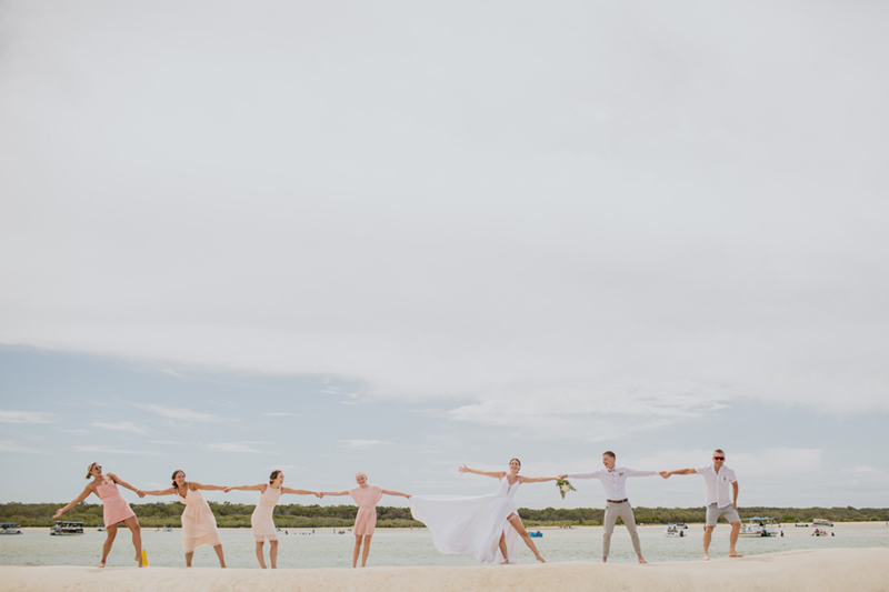 funny shot of bridal party