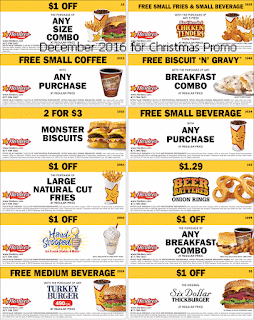 free Hardees coupons december 2016