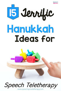 15 Free Hanukkah Speech Therapy Ideas for Teletherapy. This picture shows 4 dreidels on a short stool.
