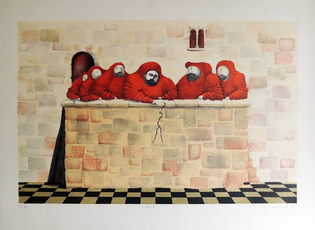 Fernando Pereznieto litografía surrealista monjes