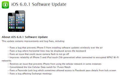 iOS 6.0.1 Software Update ChangeLog