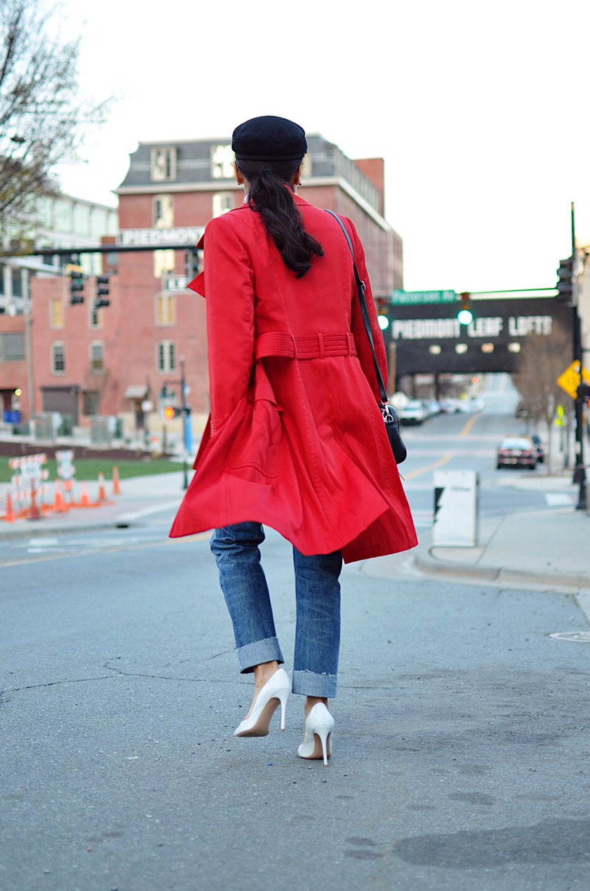 Look with a red trench coat