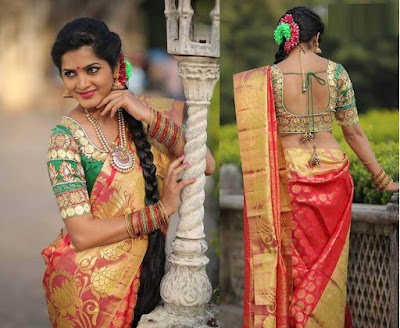 Beautiful color combinations of Pattu Sarees.