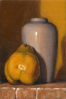 Oil painting of a quince beside a white porcelain vase.