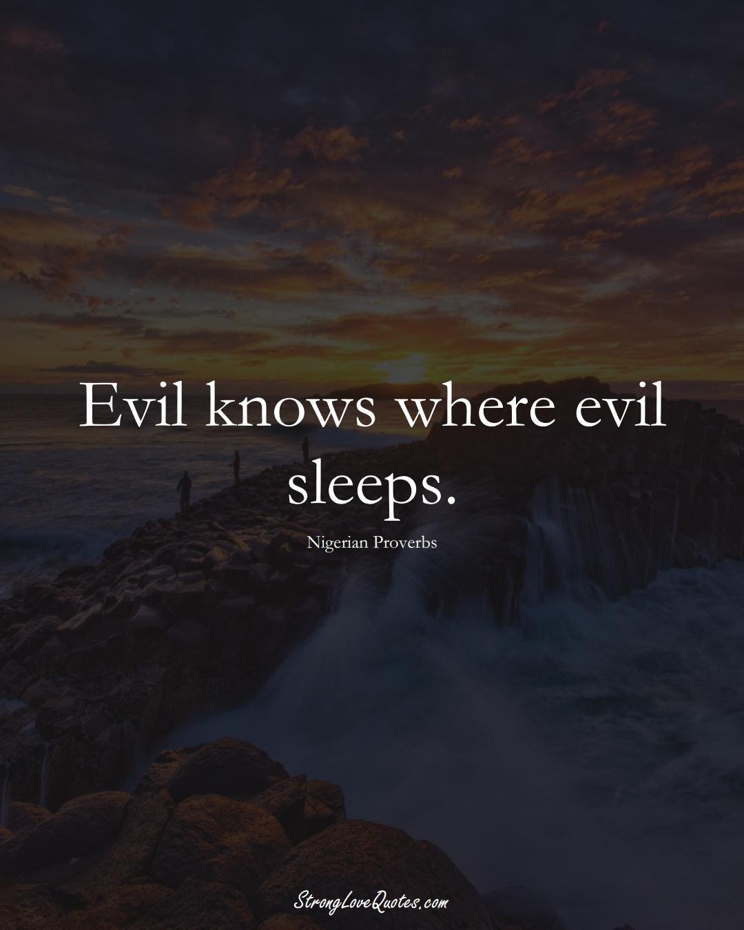 Evil knows where evil sleeps. (Nigerian Sayings);  #AfricanSayings