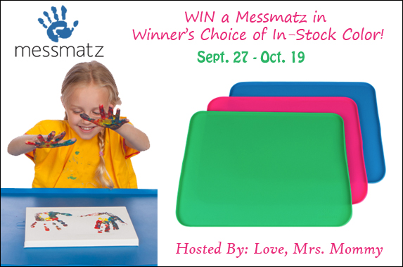 Messmatz creativity mat giveaway ends 10/16/17 www.sahmplus.com