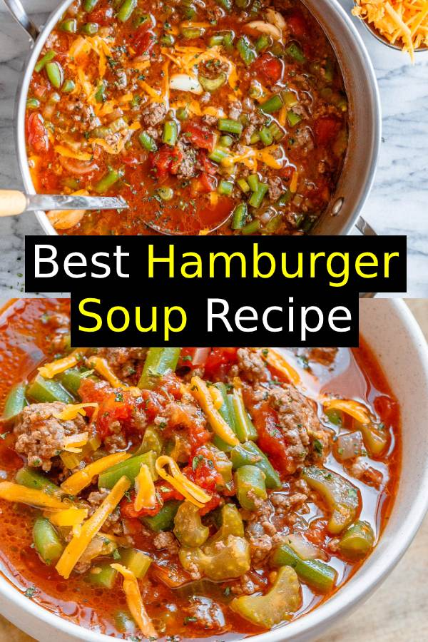 Best Hamburger Soup Recipe - #soup #recipe - Simmered to perfection and designed to satisfy, this hearty beef soup is loaded with good-for-you ingredients! #hamburgersoup #souprecipe #dinner #beef