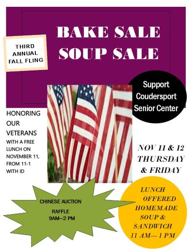 11-11/12 Coudersport Senior Center Bake Sale