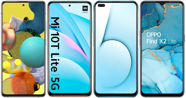 Samsung Galaxy A51 5G vs Xiaomi Mi 10T Lite 5G vs Realme X50 5G vs Oppo Find X2 Lite 5G