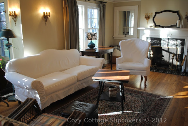 Cozy Cottage Slipcovers White Denim Wing Chair