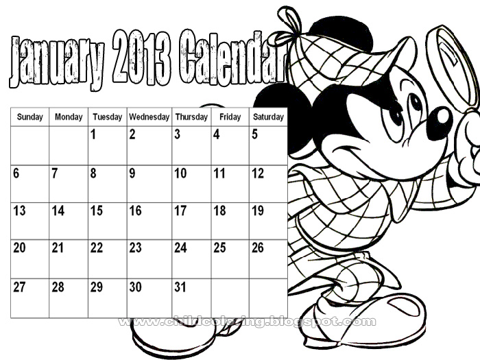 January 2013 Calendar Mickey Coloring ~ Child Coloring