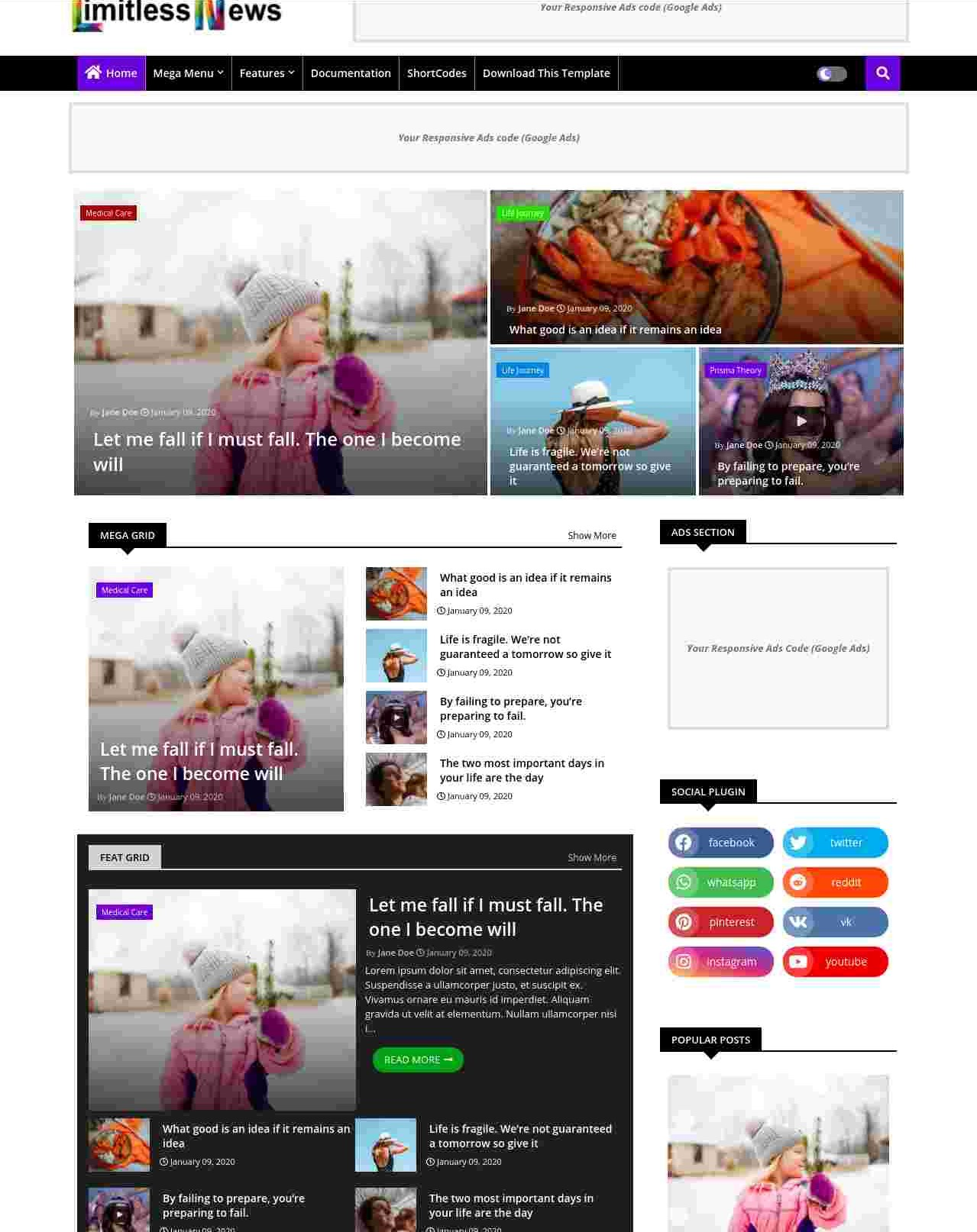 Limitless News  Responsive And Creative Blogger Template