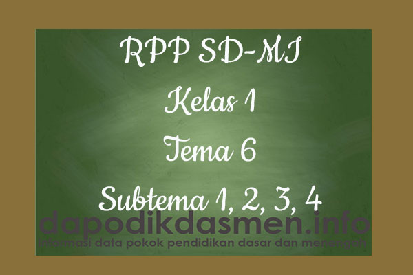RPP Tematik SD/MI Kelas 1 Tema 6 Subtema 1 2 3 4 Semester 2, Download RPP Kelas 1 Tema 6 Subtema 1 2 3 4 Kurikulum 2013 SD/MI Revisi Terbaru, RPP Silabus Tematik Kelas 1