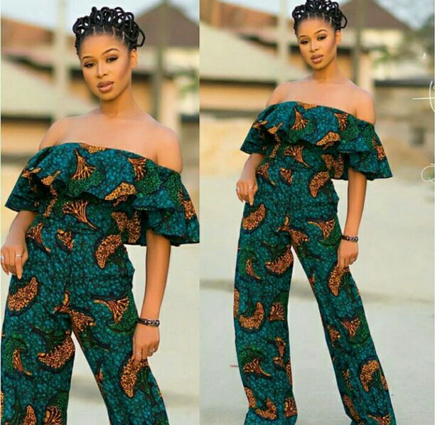 Ankara off shoulder jumpsuit