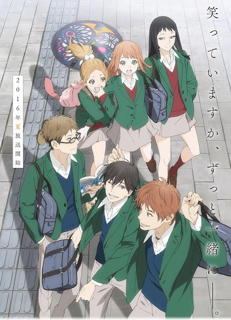 Anime Orange - plakat z bohaterami letniego anime ubranymi w zielone mundurki