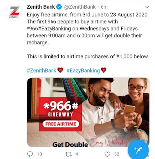 Get Double Of Your Airtime When You Recharge With Zenith Bank