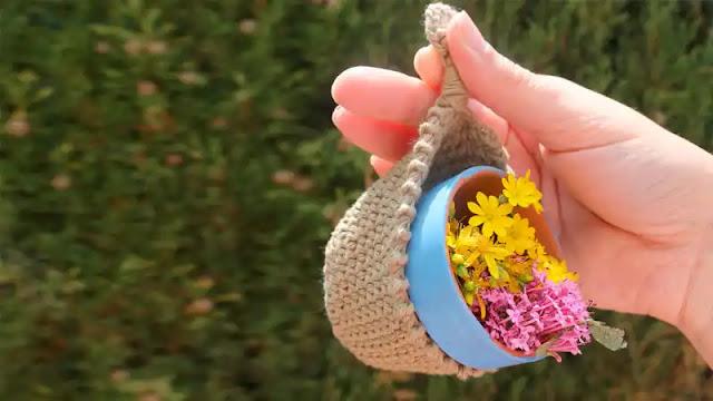 Cómo hacer un macetero colgante a crochet paso a paso