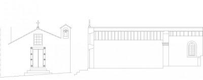 Alçado (Church Elevation) da Igreja Misericórdia (S. Sebastião) Póvoa e Meadas , Castelo de Vide, Portugal