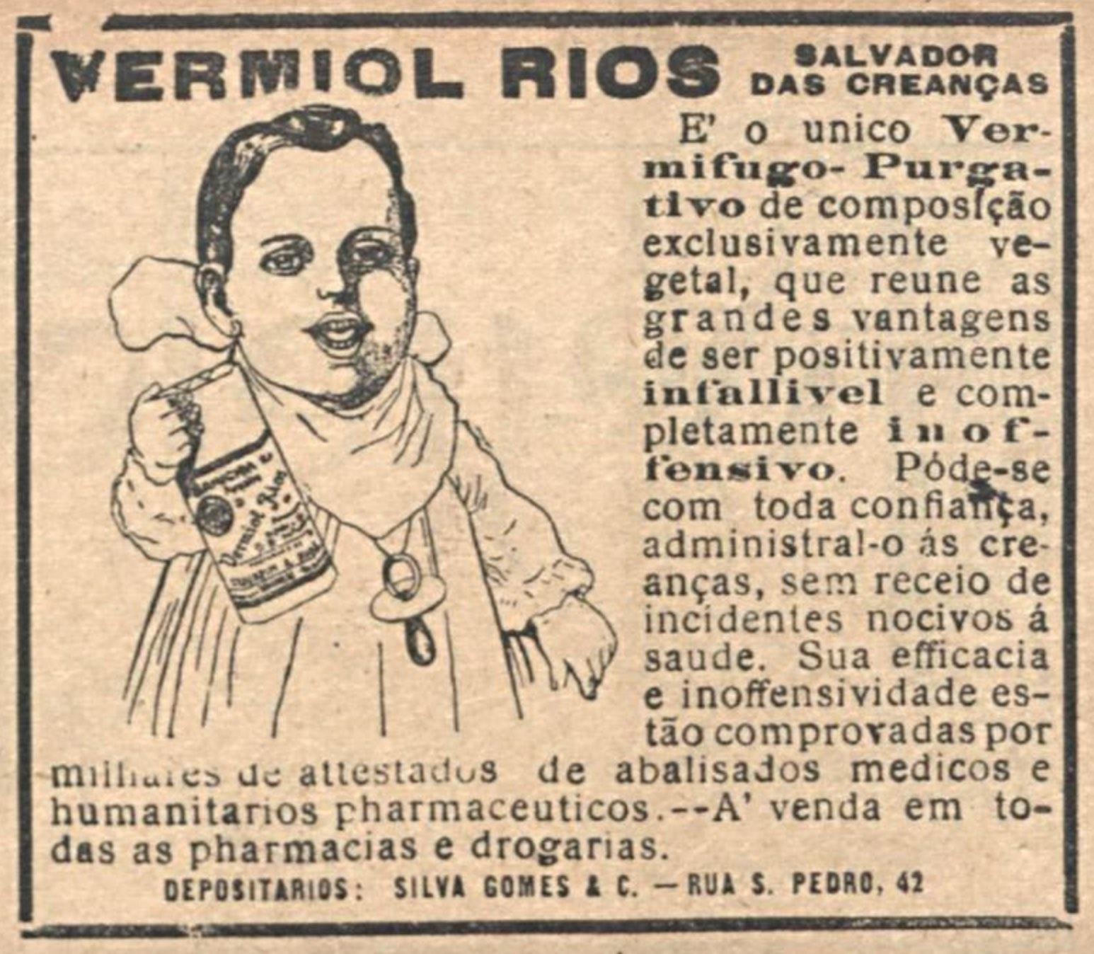 Anúncio veiculado em 1918 promovia o Vermífugo Rios para crianças