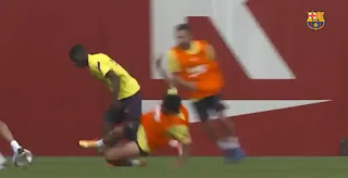 Pictures: Suarez slide tackle Dembele who hasn't even received medical all-clear yet
