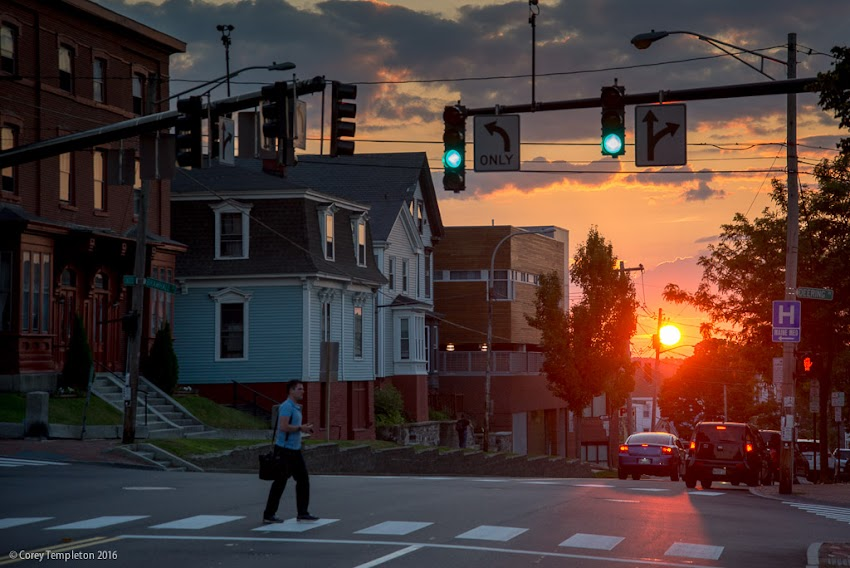 Portland, Maine USA July 2016 photo by Corey Templeton. From Bramhall Square, the setting sun lines up nicely with Congress Street on summer nights.