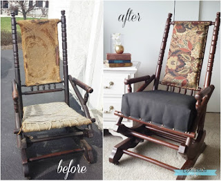 antique vintage platform rocking chair wood refinishing upholstery
