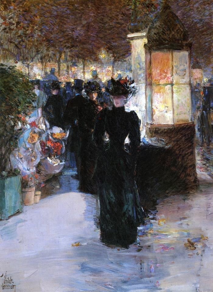 Childe Hassam 1859-1935 | American Impressionist painter | Paris nocturne