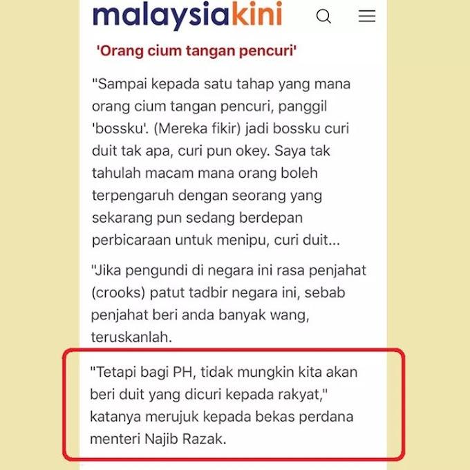 Mahathir Sifatkan Najib Robin Hiod ?