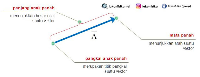 gambar vektor, komponen vektor, besar vektor, arah vektor, pangkal vektor