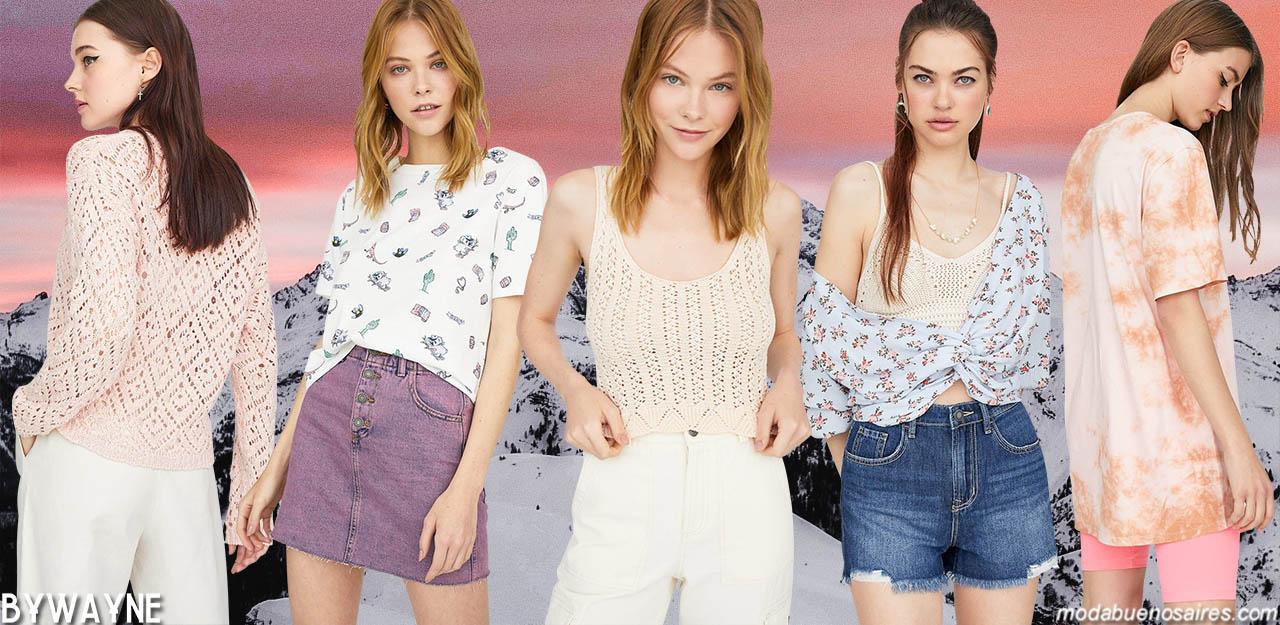 Moda primavera verano 2020 juvenil mujer. Tonos pasteles colores de moda primavera verano 2020.