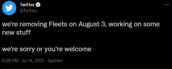 تويتر يقرر إلغاء ميزة Fleets