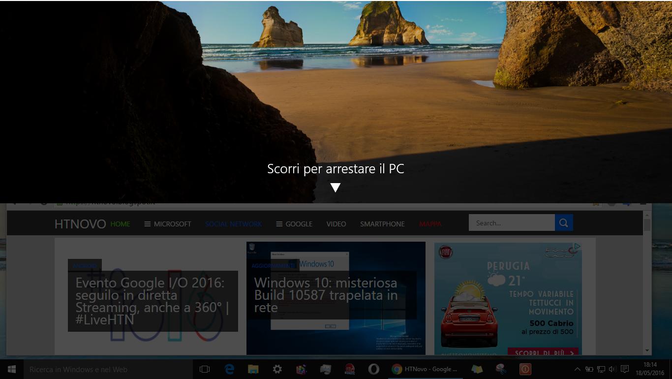 Come spegnere PC Windows 10 con un semplice Slide verso il basso HTNovo