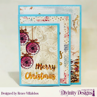 Stamp Set: Christmas Wishes, Custom Dies: Four Panel Card with Layers, Custom Dies:Holiday Words, Stitched Rectangles, Paper Collection: Christmas 2014