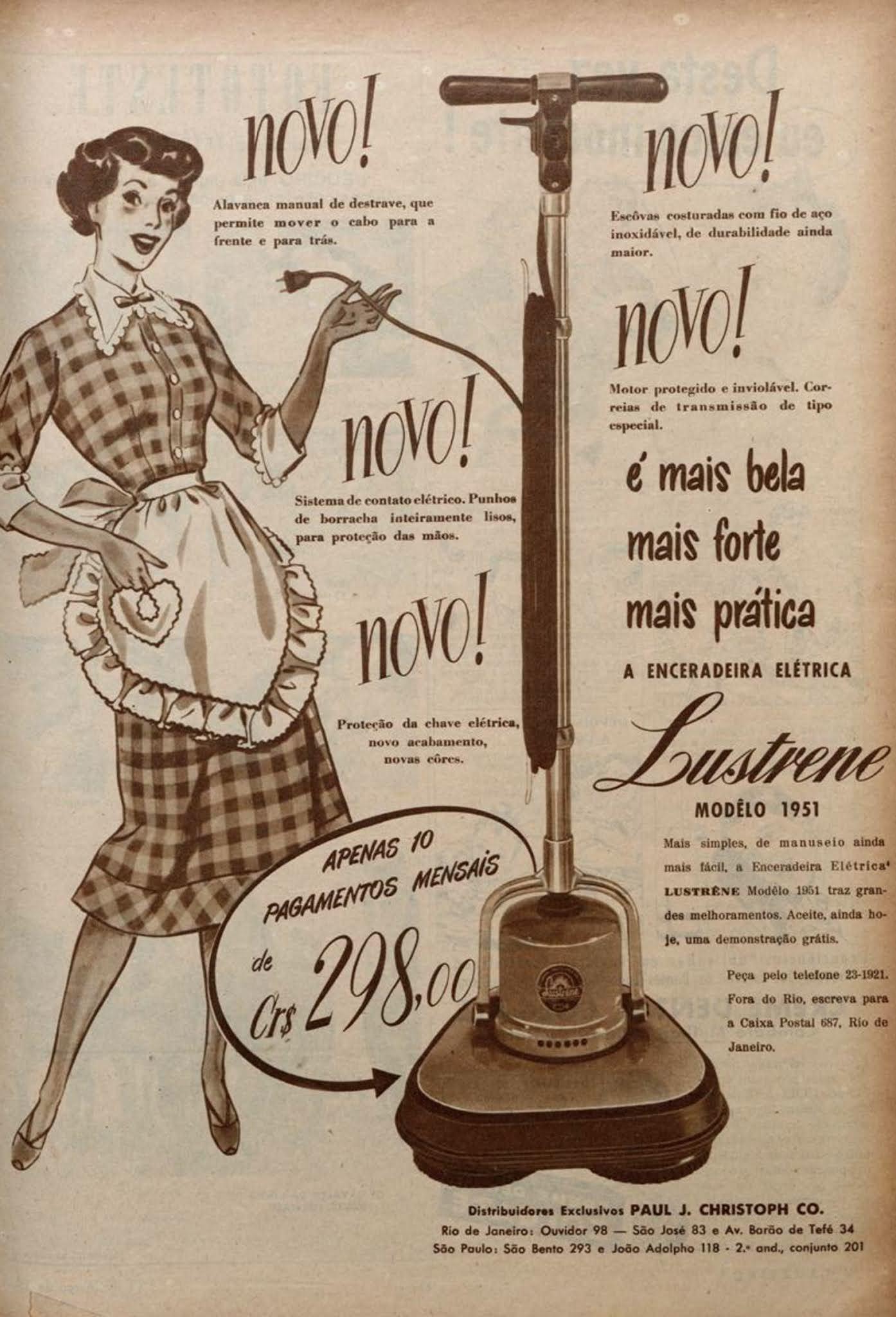 Anúncio promovendo a enceradeira Lustrene em 1951