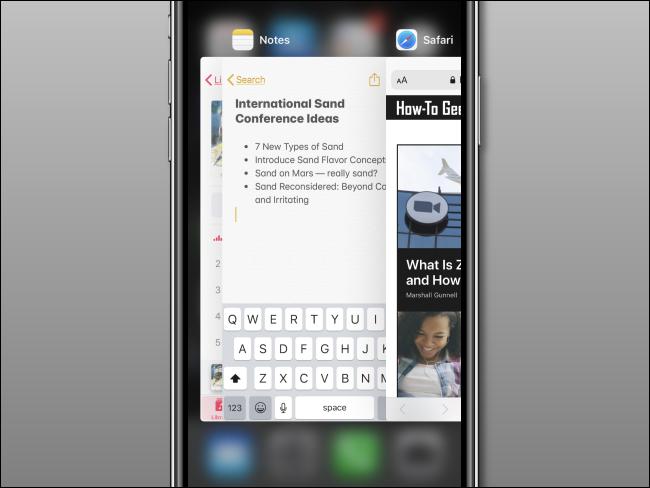 يفتح App Switcher على iPhone.