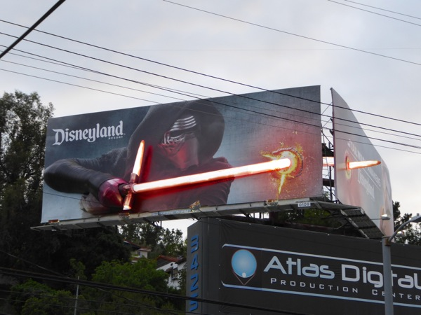 Disneyland Star Wars Awakens Kylo Ren 3D lightsaber billboard