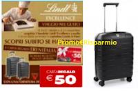 Logo Lindt Excellence ''Viaggio nel gusto'': vinci card Trenitalia da 50€ e Kit Trolley Roncato
