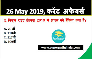 Daily Current Affairs Quiz in Hindi 26 May 2019