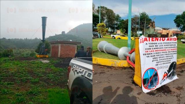 Agricultores en Michoacán se unen contra Aguacateros y les tumban cañones antigranizo por provocar sequías y hacer daño al medio ambiente