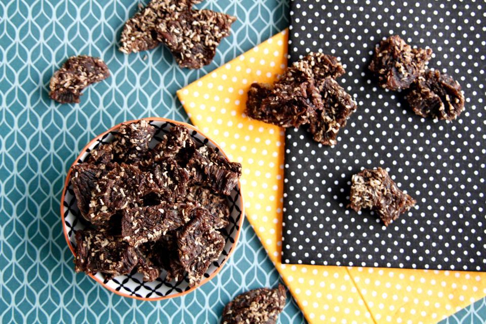 Coconut spice beef jerky dog treats