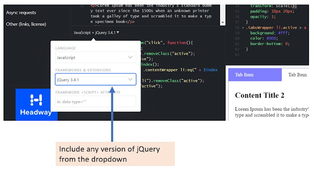 Adding jquery in fiddle