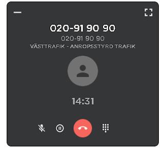 Skärmdump på samtal till beställningcentralen med samtalsmätaren stannad på 14:31 minuter
