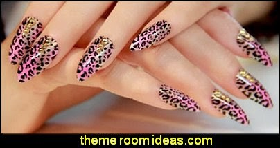 Pink leopard fake false nails