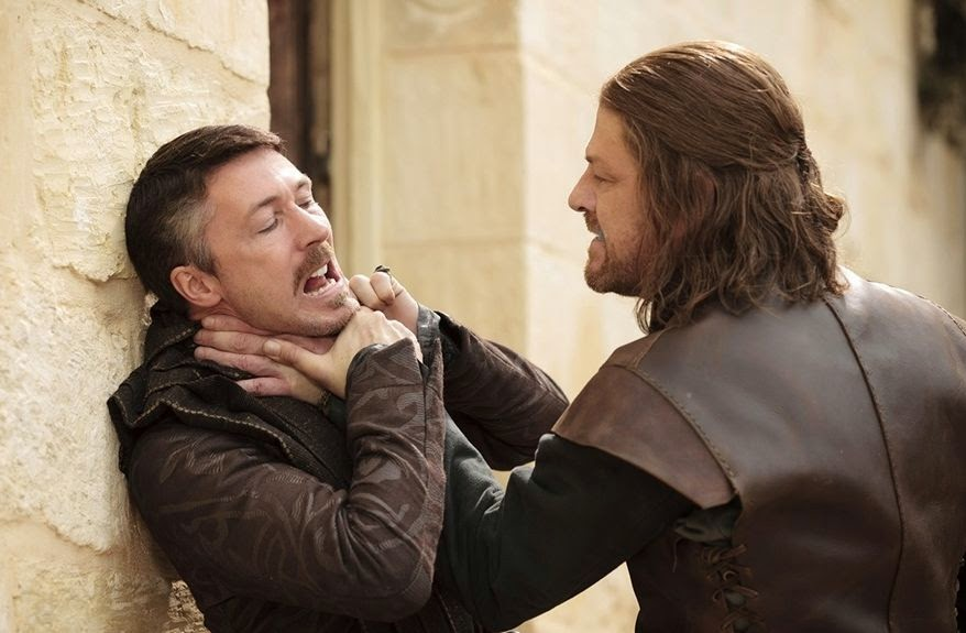Eddard Stark loses his cool, unleashes his fury on Petyr Baelish, Game of Thrones, HBO TV Series
