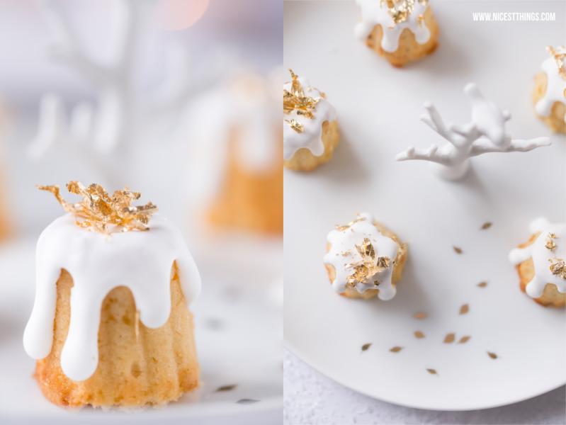 Gebrannte Mandel Kuchen Canneles mit essbarem Blattgold