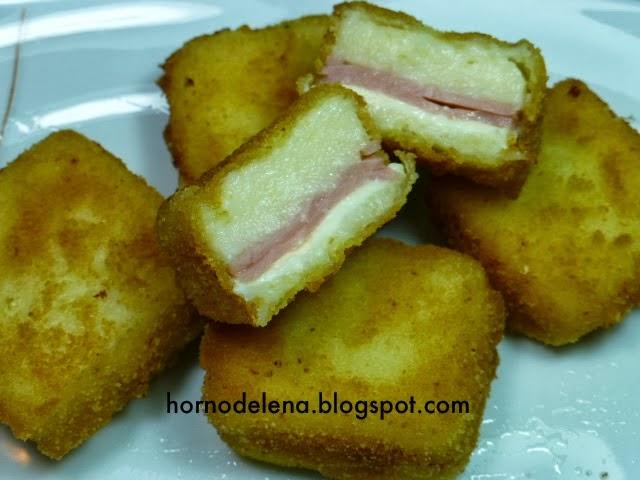 cuadritos con jamón y queso