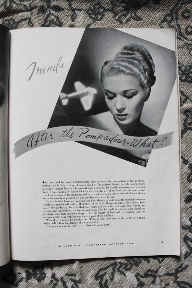 1940s hair style tutorial pompadour from American Hairdresser Magazine