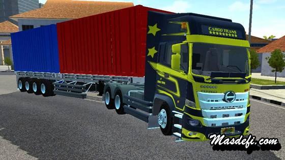 mod truck hino 500 trailer 4axle peti kemas