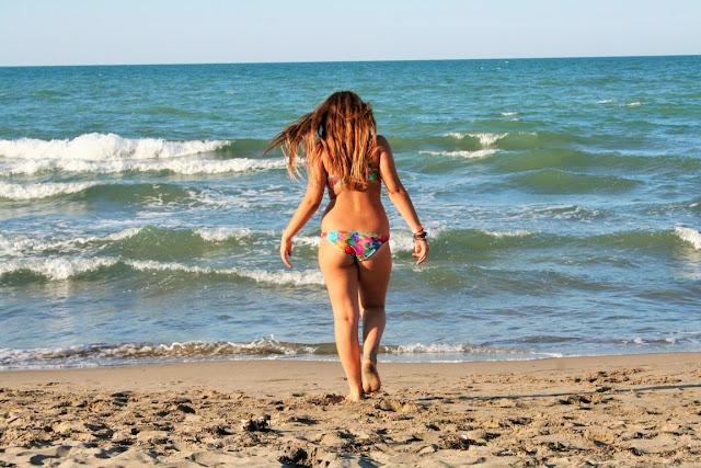 sabbia, mare, acqua, cielo, ragazza, onde