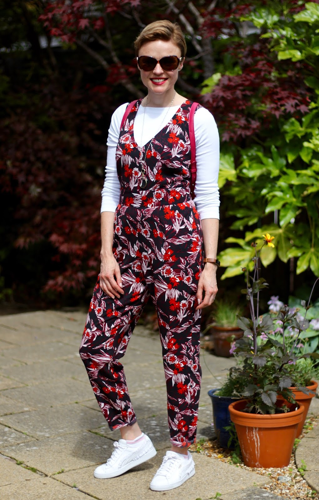 Floral Jumpsuit, White T-shirt & Trainers   Fake Fabulous